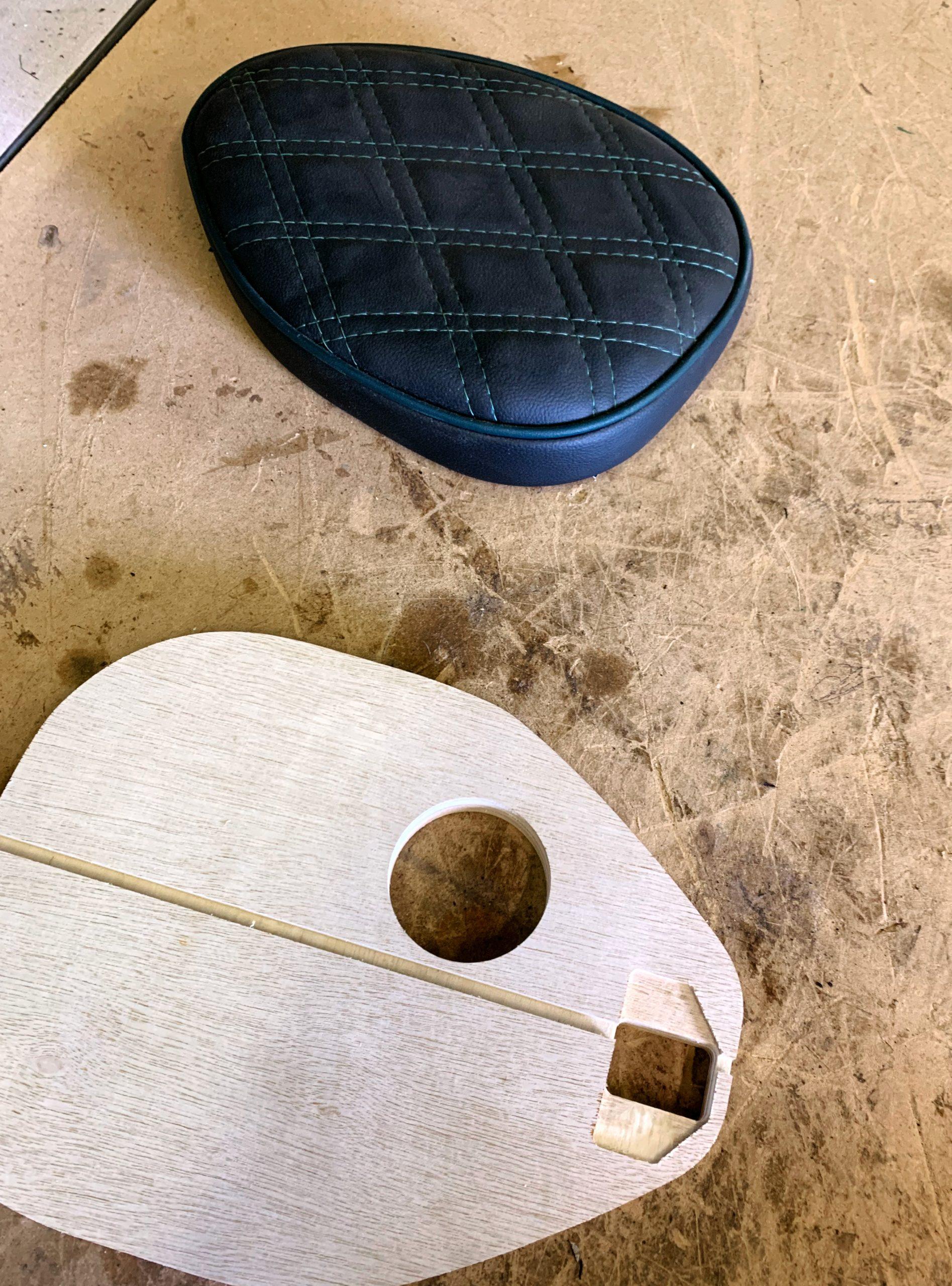 Custom+motorbike+seat+and+wood+base